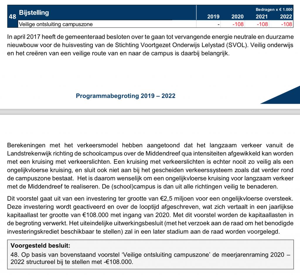 Fragment uit concept programmabegroting 2019